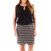 Perceptions Sleeveless Chevron Print Blouson Dress – Plus