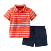 Carter's® Striped Short-Sleeve Polo and Short Set – Boys newborn-24m