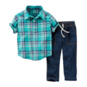 Carter's® Plaid Short-Sleeve Shirt and Denim Pant Set – Boys newborn-24m