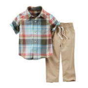 Carter's® Plaid Button-Front Short-Sleeve Shirt and Pant Set – Boys newborn-24m