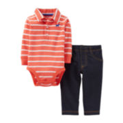 Carter's® Striped Polo Long-Sleeve Bodysuit and Pant Set – Boys newborn-24m