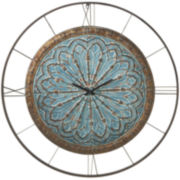 "Oversized 39.5"" Distressed Medallion Wall Clock"