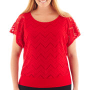 Alyx® Short-Sleeve Chevron Lace Banded Top - Plus