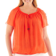 Alyx® Short-Sleeve Crochet-Trim Gauze Top - Plus