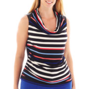 Worthington® Sleeveless Faux Leather-Trim Cowlneck Top - Plus
