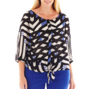 Worthington® Sleeveless Tie-Front Blouse - Plus