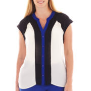 Worthington® Button-Front Colorblock Blouse - Plus