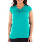 Worthington® Cap-Sleeve Twist-Front Knit Tee - Plus