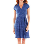 Liz Claiborne Short-Sleeve Faux-Wrap Dress – Petite