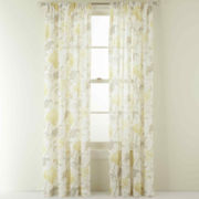 MarthaWindow™ Faded Floral Rod-Pocket Sheer Panel