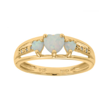 jcpenney.com | Lab-Created Opal and Diamond-Accent 3-Stone Heart Ring