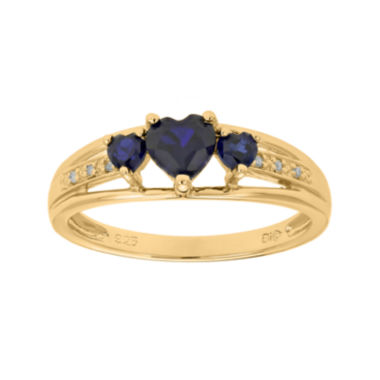 jcpenney.com | Lab-Created Sapphire and Diamond-Accent 3-Stone Heart Ring