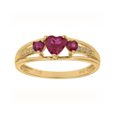 jcpenney.com | Lab-Created Ruby and Diamond-Accent 3-Stone Heart Ring