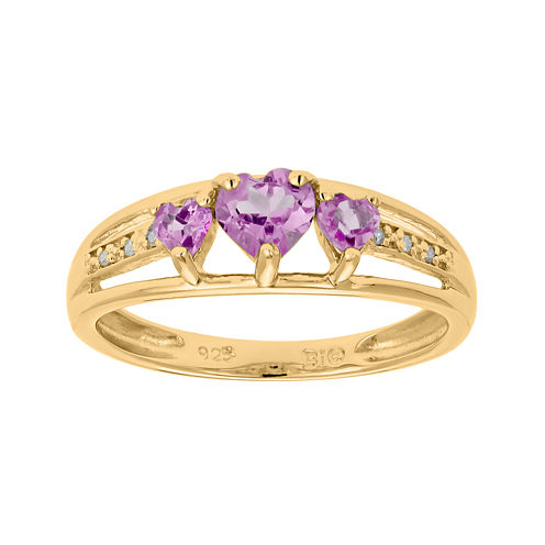 Lab-Created Pink Sapphire and Diamond-Accent 3-Stone Heart Ring