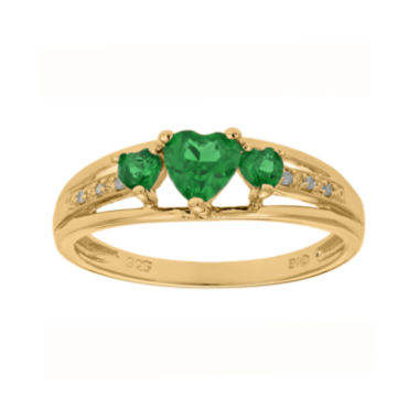 jcpenney.com | Lab-Created Emerald and Diamond-Accent 3-Stone Heart Ring