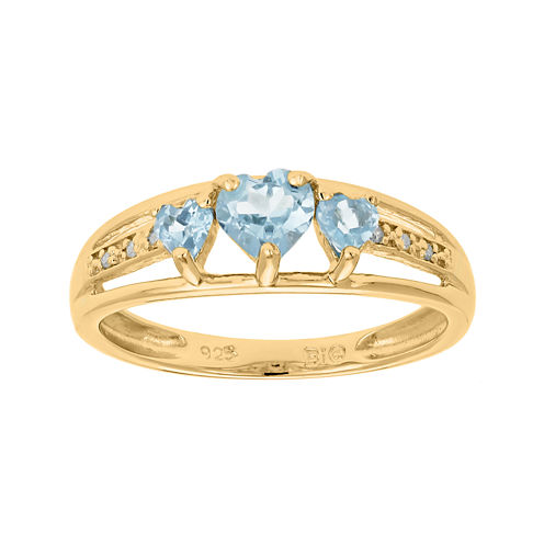 Lab-Created Aquamarine and Diamond-Accent 3-Stone Heart Ring