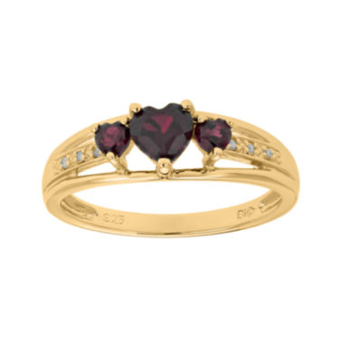 jcpenney.com | Genuine Garnet and Diamond-Accent 3-Stone Heart Ring