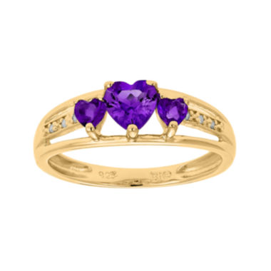 jcpenney.com | Genuine Amethyst and Diamond-Accent 3-Stone Heart Ring