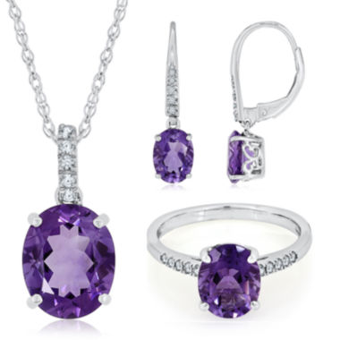 jcpenney.com | Sterling Silver Genuine Amethyst and Lab-Created White Sapphire Dainty Jewelry