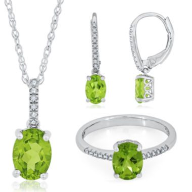 jcpenney.com | Genuine Peridot and Diamond Accent Sterling Silver Drop Jewelry
