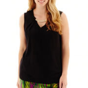 Worthington® Sleeveless Necklace Blouse - Plus