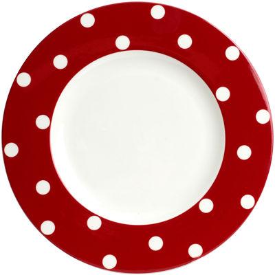 Red Vanilla Freshness Dots Dinner Plate