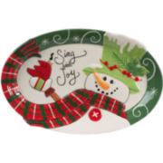 Fitz and Floyd® Holly Hat Snowman Sentiment Oval Serving Platter