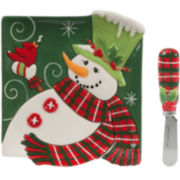 Fitz and Floyd® Holly Hat Snowman Snack Plate with Spreader