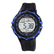 Armitron® ProSport Mens Black and Blue Resin Chronograph Digital Watch 40/8327BLU