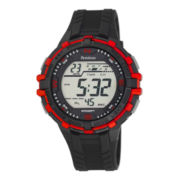 Armitron® ProSport Mens Black and Red Resin Chronograph Digital Watch