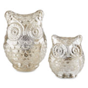 White Frost Set of 2 Glass Owl Candle Holders
