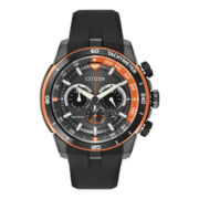 Citizen® Eco-Drive™ Mens Black Rubber Chronograph Watch CA4154-15E