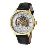 Stührling® Mens Gold-Tone Automatic Black Leather Strap Watch