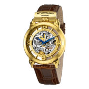 Stührling® Mens Gold-Tone Automatic Brown Leather Strap Watch