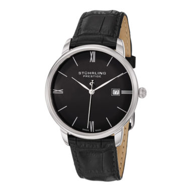 jcpenney.com | Stührling® Original Mens Black Leather Strap Watch