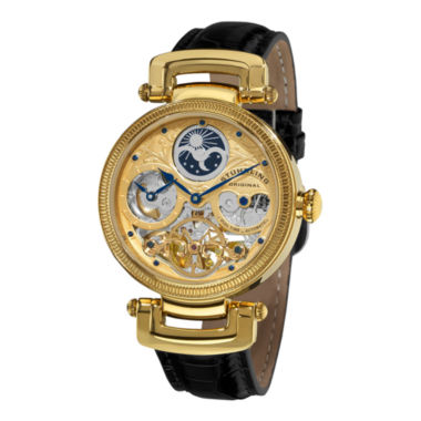jcpenney.com | Stührling® Original Mens Gold-Tone Skeleton Leather Strap Automatic Watch