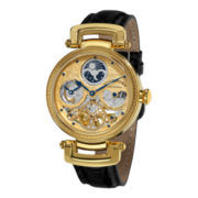 Stührling® Mens Gold-Tone Skeleton Leather Strap Automatic Watch