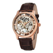 Stührling® Mens Rose-Tone Skeleton Leather Strap Automatic Watch