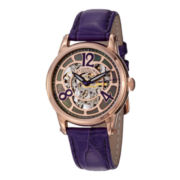 Stührling® Womens Rose-Tone Skeleton Automatic Purple Leather Watch