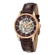 Stührling® Womens Rose-Tone Skeleton Automatic Brown Leather Watch