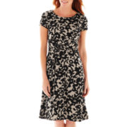 Perceptions Short-Sleeve Floral Print Side-Buckle Dress