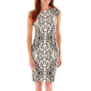 R&K Originals® Cap-Sleeve Mirror Print Sheath Dress