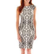 R&K Originals® Cap-Sleeve Mirror Print Sheath Dress