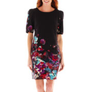 DR Collection Short-Sleeve Floral Print Shift Dress