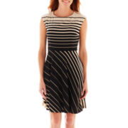 R&K Originals® Cap-Sleeve Striped Fit-and-Flare Dress