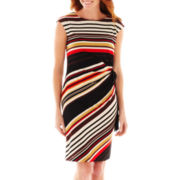 R&K Originals® Cap-Sleeve Striped Side-Tie Dress