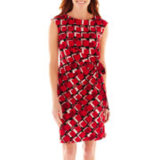 R&K Originals® Cap-Sleeve Box Print Side-Tie Dress