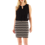 Perceptions Sleeveless Chevron Print Blouson Dress – Petite