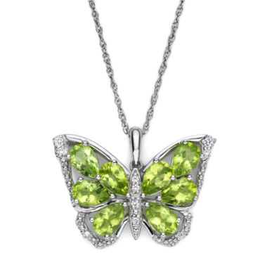 jcpenney.com | Peridot & Lab-Created White Sapphire Sterling Silver Butterfly Pendant Necklace