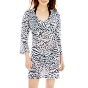 Porto Cruz® 3/4-Sleeve Burnout Print Cover-Up Tunic